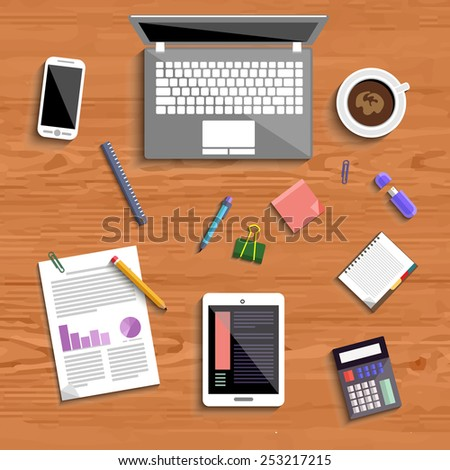 Top view of business people workplace with laptop, digital tablet, smartphone and different office elements on wood table. Raster version - stock photo