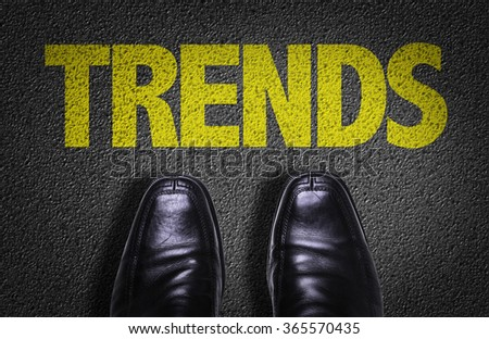Top View of Business Shoes on the floor with the text: Trends - stock photo
