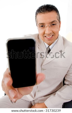 top view of businessman offering cell phone on an isolated white background - stock photo