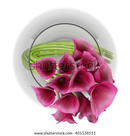 top view of calla lilies in glass vase isolated on white background. 3D illustration - stock photo
