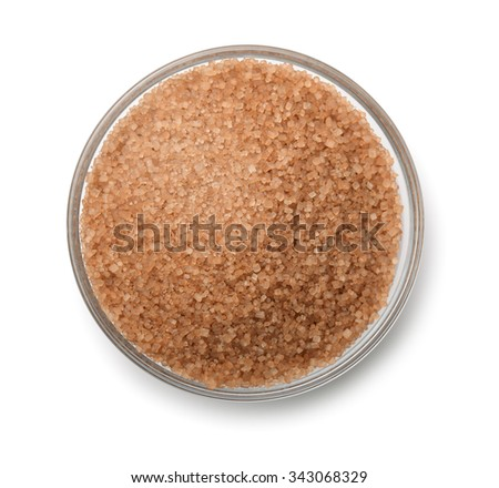Top view of cane sugar bowl isolated on white - stock photo