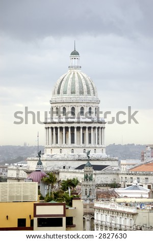 top view of Capitolio in city of havana, Cuba