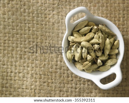 top view of cardamon seeds  - stock photo