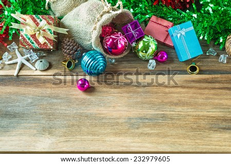 Top view of  Christmas and New Year garland on rustic wood with copy space - stock photo