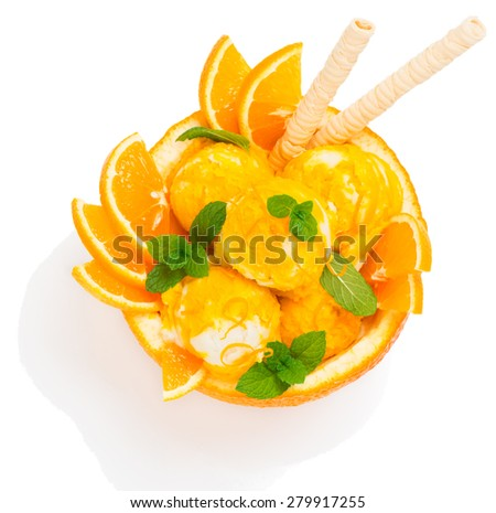 Top view of citrus ice cream in a rind of orange fruit isolated on white background - stock photo