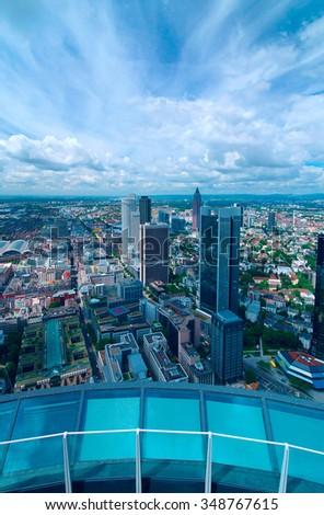 Top view of city Frankfurt am Main - stock photo