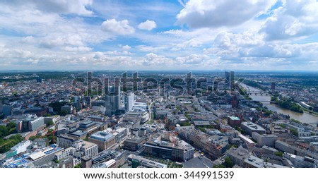 Top view of city Frankfurt in sunny day - stock photo