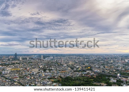 Top view of cityscape middle in Bangkok - stock photo