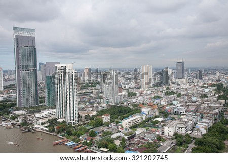 Top view of cityscape middle in Bangkok beautiful.