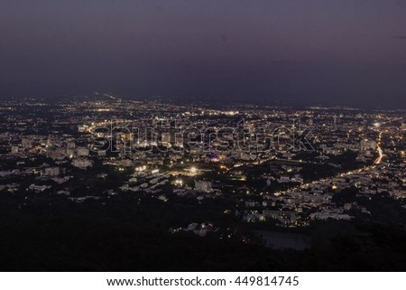 Top view of Cityscape of Chiangmai with twilight sky