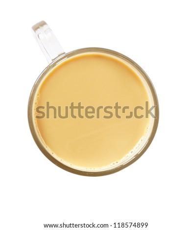 Top view of coffee cup. Isolated over white. - stock photo