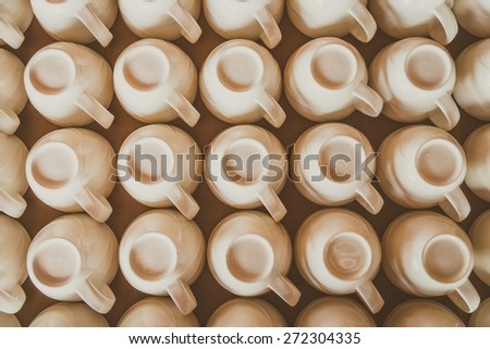 Top view of coffee cup - vintage filter - stock photo