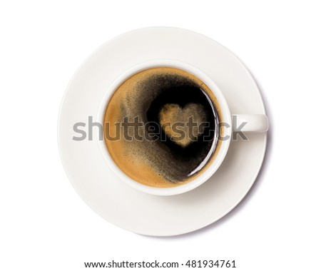 top view of coffee cup with heart sign isolated on white background, with clipping path.
