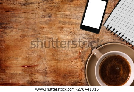 top view of coffee ,notepad with  phone - stock photo