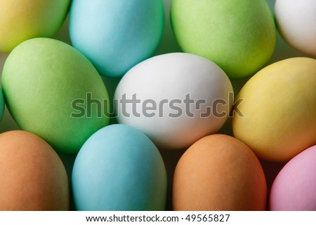 Top view of colored easter eggs - stock photo