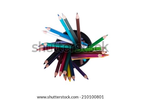 Top view of colored pencils in plastic, wired pencil box, isolated on white background. - stock photo