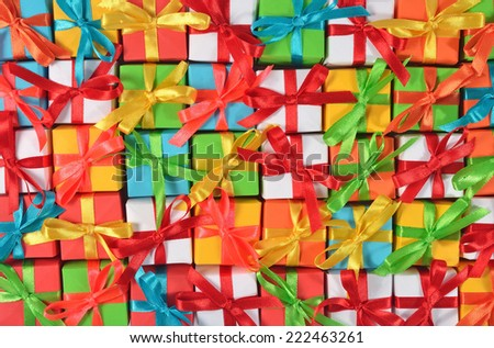 Top view of colorful gifts  - stock photo