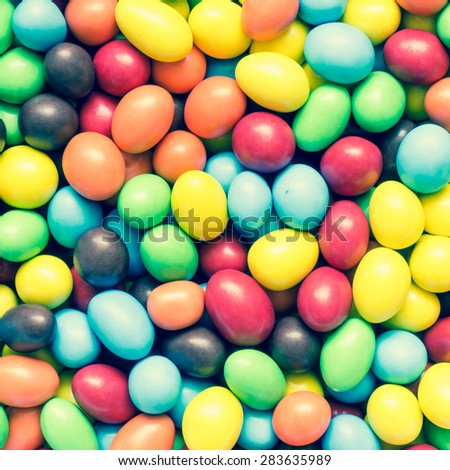 Top view of colorful peanuts chocolate - stock photo
