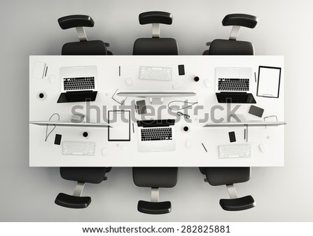 Top View Conference Table Office Accessories Stock Illustration - Conference table accessories