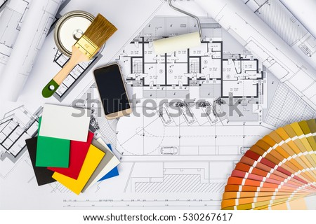top view construction plans whitewashing toolscolors stock photo 530267617 shutterstock. Black Bedroom Furniture Sets. Home Design Ideas