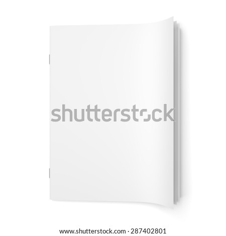 Top view of cover empty magazine blank isolated on white background - stock photo