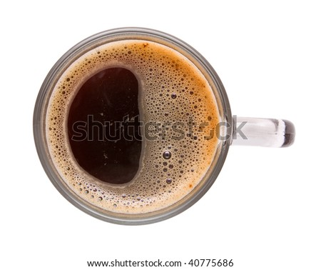 Top view of cup of black coffee. Isolation. - stock photo