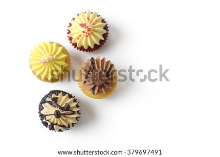 top view of cupcake on white background