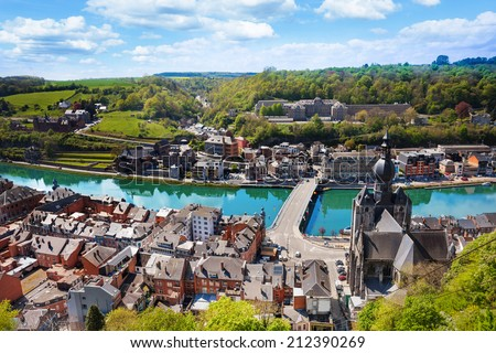 Top view of Dinant with Charles de Gaulle bridge - stock photo