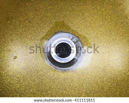 top view of drain hole in golden antique marble sink. vintage tone - stock photo