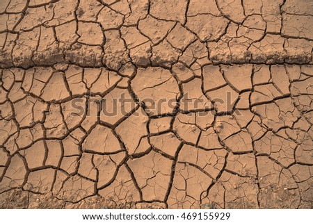 Top view of dried ground covered with cracks . Natural dry soil texture, brown drought theme in rural arid area. Background for design. Concept image of global warming.