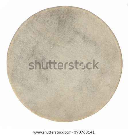 Top view of drum leather  isolated on white background. Drum head - stock photo