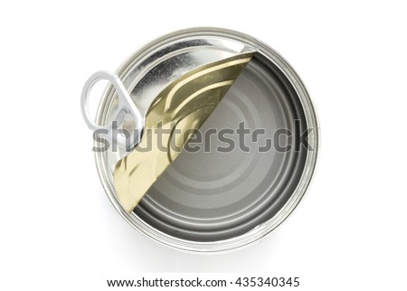 top view of empty canned on white background - stock photo