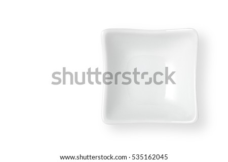 Top view of  empty dish isolated on white background