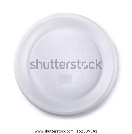 Top view of empty disposable plastic plate isolated on white - stock photo