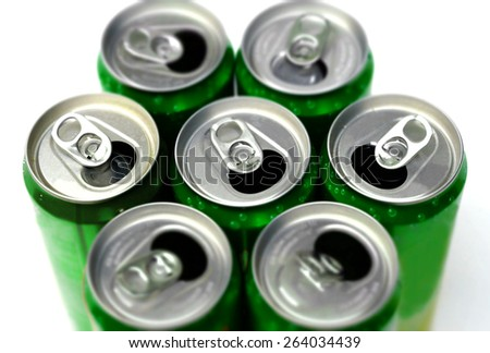 Top view of empty soft drinks cans - stock photo