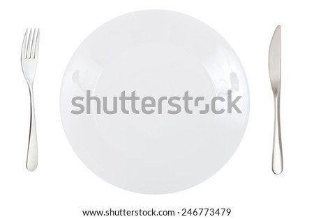 top view of empty white dinner porcelain plate with fork and knife isolated on white background - stock photo