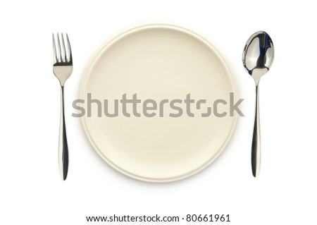 Top view of empty white dish spoon and fork on white background