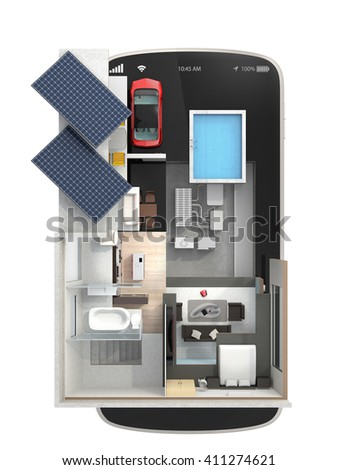 Top view of energy-efficient house equipped with solar panels, energy saving appliances on a smart phone.  automation home controlled by smartphone concept. 3D rendering image with clipping path. - stock photo
