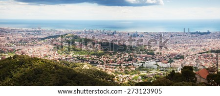 Top view of european city. Barcelona - stock photo
