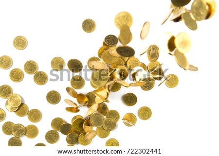 Top view of Falling gold coins money isolated on the white background, business wealth concept.