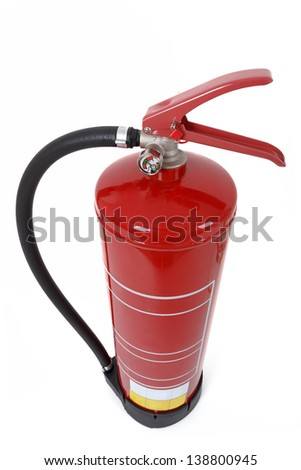 top view of fire extinguisher isolated on white