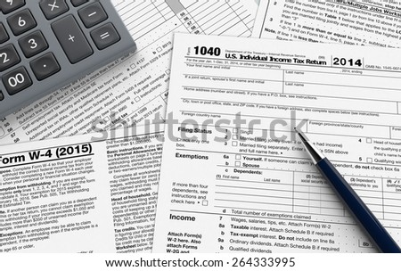 top view of forms for usa taxes, with a pen and an electronic calculator (3d render) - stock photo