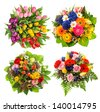 top view of four colorful flower bouquets for Birthday, Wedding, Mothers Day, Easter. multicolor arrangements - stock photo