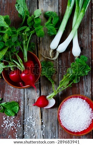 Top view of fresh radishes with green onions and salt on rustic wooden background. Health or diet concept.