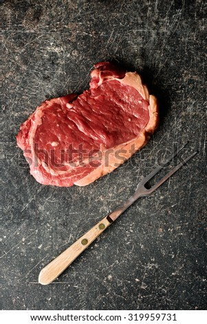 top view of fresh raw beef - stock photo