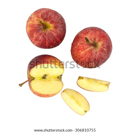 Top view of fresh red apples - ripe fruit isolated white background - stock photo