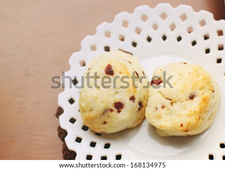 Top view of freshly baked scones with retro filter effect - stock photo