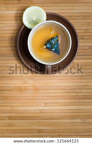 Top view of fruit tea on wooden  table - stock photo