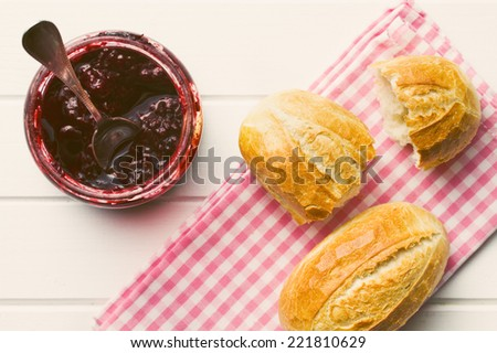 top view of fruity jam - stock photo