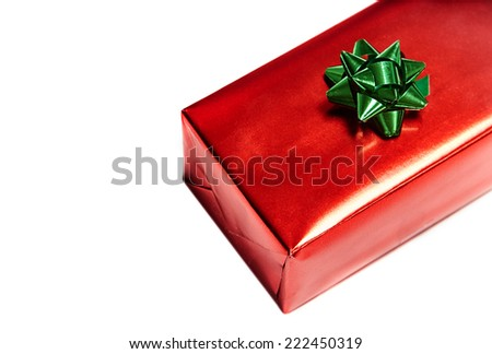 Top view of gift box on white background - stock photo